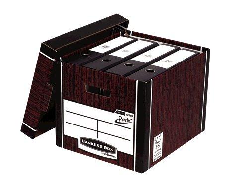 Bankers Box Fellowes Premium Presto Tall Box Woodgrain PK10