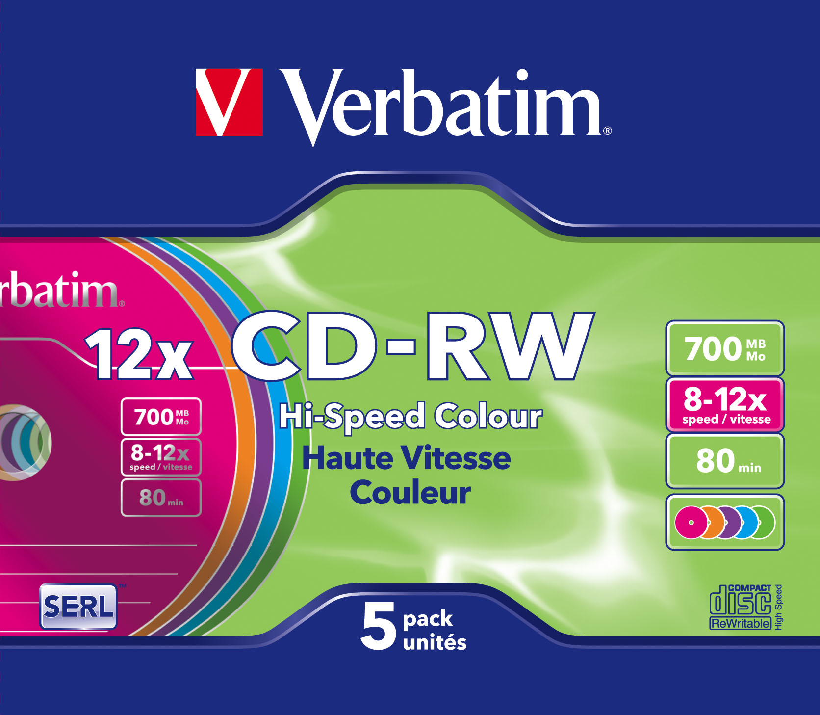Verbatim CD-RW Colour 12x 700 MB 5 pc(s)