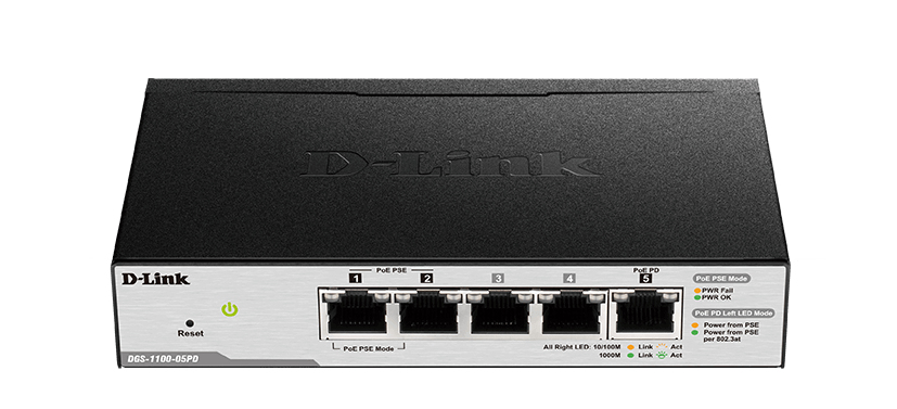 D-Link DGS-1100-05PD switch Gestionado L2 Gigabit Ethernet (10/100/1000) Negro Energía sobre Ethernet (PoE)