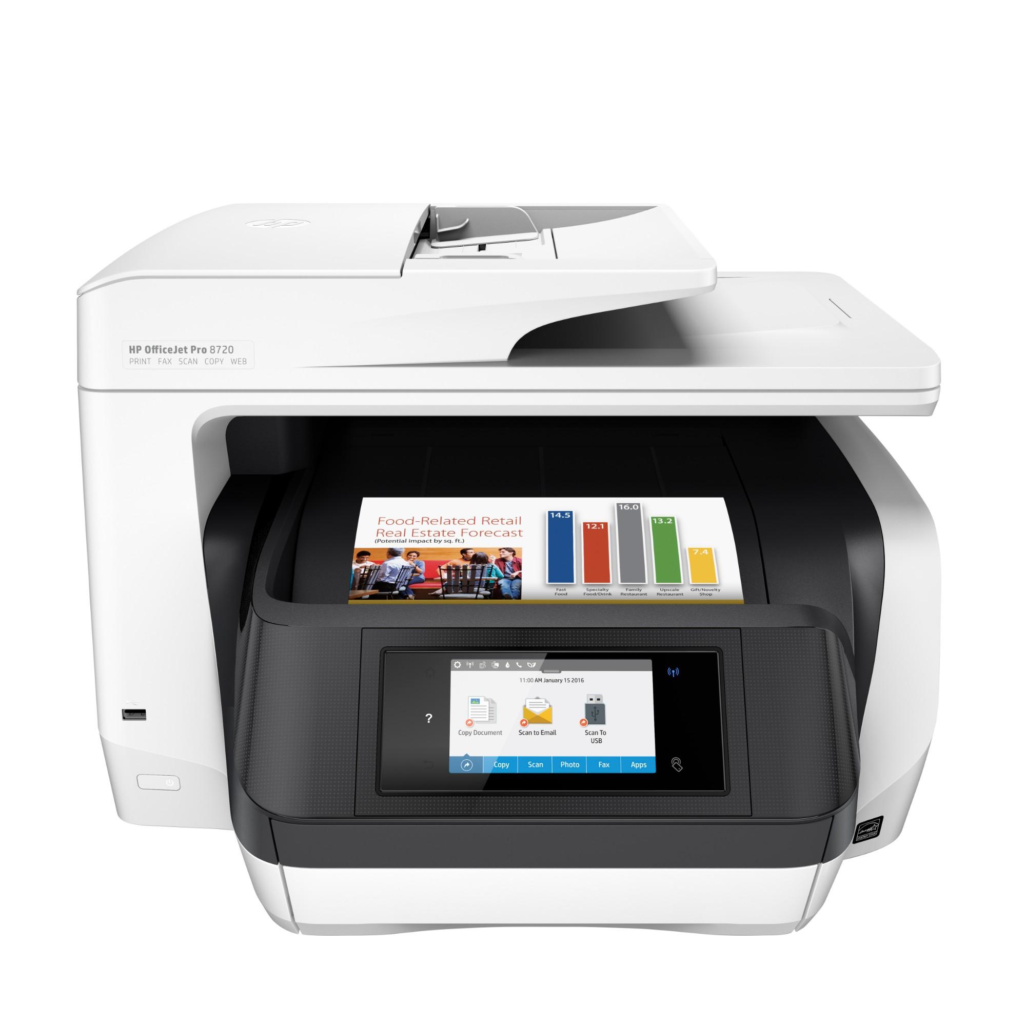 HP OfficeJet Pro 8720 Thermal Inkjet 24 ppm 4800 x 1200 DPI A4 Wi-Fi