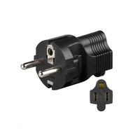 Microconnect PETRAVEL4 power plug adapter Type F Type B Black