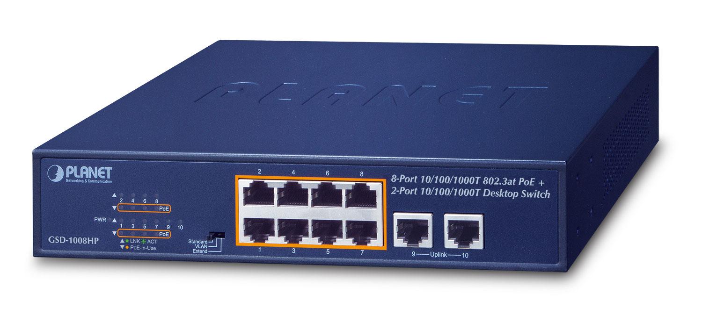 PLANET GSD-1008HP network switch Unmanaged Gigabit Ethernet (10/100/1000) Power over Ethernet (PoE) 1U Blue