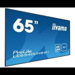"iiyama LE6540UHS-B1 signage display 164.1 cm (64.6"") LED 4K Ultra HD Black"