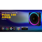 Antec Prizm 140mm ARGB PWM Fan Dual-Ring Hydraulic Bearing, 18 Independent LED Beads. 2 Years Warranty