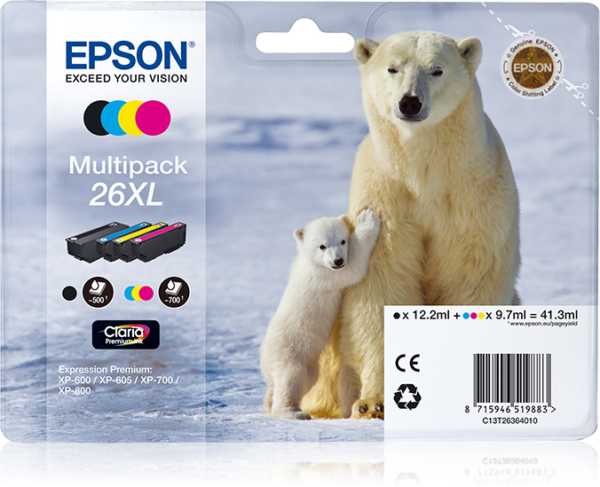 Epson Polar bear Multipack 26XL 4 colores (etiqueta RF)