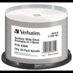 Verbatim DVD-R Wide Silver Inkjet Printable No ID Brand 4.7GB DVD-R 50pc(s)