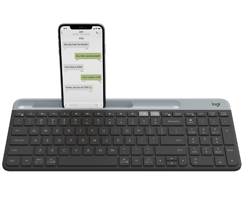 Logitech Slim Multi-Device K580 keyboard RF Wireless + Bluetooth Danish, Finnish, Norwegian, Swedish Graphite