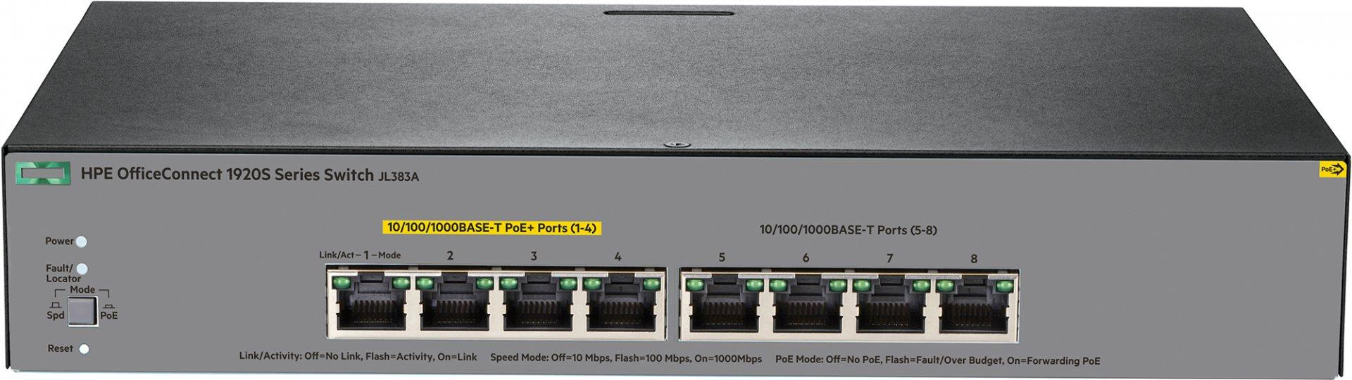 Hewlett Packard Enterprise OfficeConnect 1920S 8G PPoE+ 65W Managed L3  Gigabit Ethernet (10/100/1000) Grey 1U Power over Ethernet (PoE)