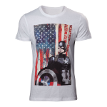 Marvel Adult Male Captain America: Civl War Stars and Stripes T-Shirt, Extra Large, White (TS828032CAP-XL)