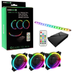 GAMEMAX Addressable RGB 3-in-1 Kit with 3 Velocity Fans, 0.3m Viper LED Strip & PWM Fan Hub with RF Remo