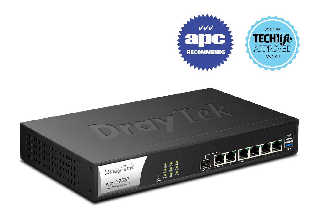 Draytek Vigor2952P Dual Gigabit WAN VPN Firewall Router 2xUSB for 3G/4G 100xVPN 50xSSL VPN 4xPoE+ 60W 8xIP S