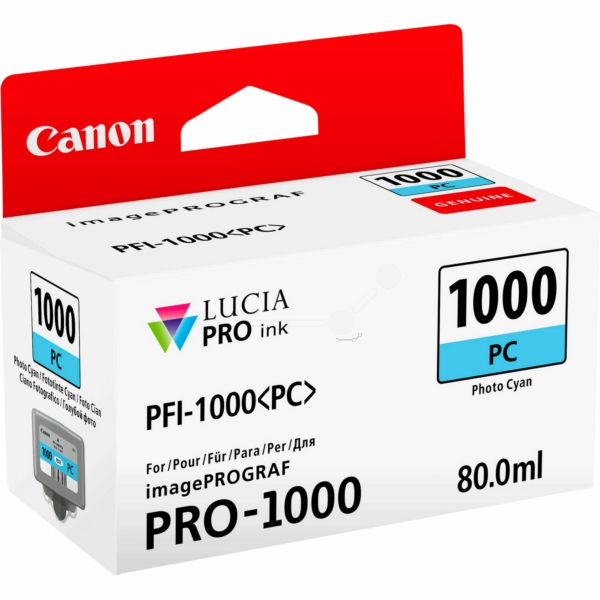 Canon 0550C001 (PFI-1000 PC) Ink cartridge bright cyan, 5.14K pages, 80ml