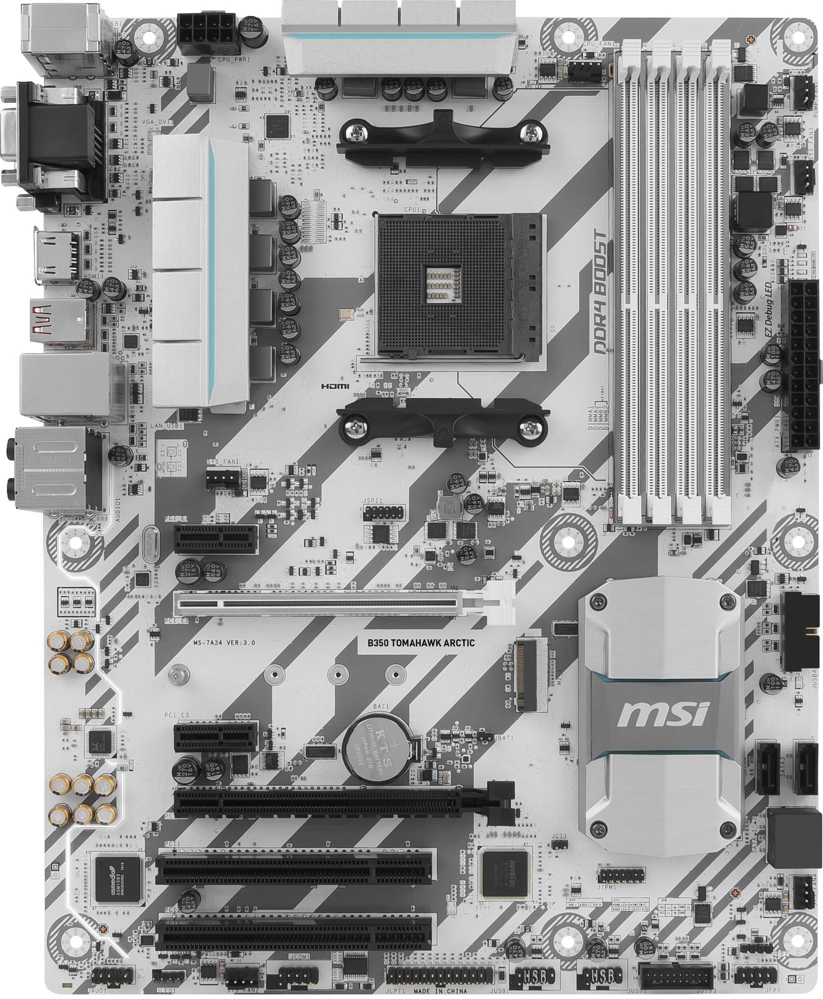MSI B350 TOMAHAWK ARCTIC AMD B350 Socket AM4 ATX