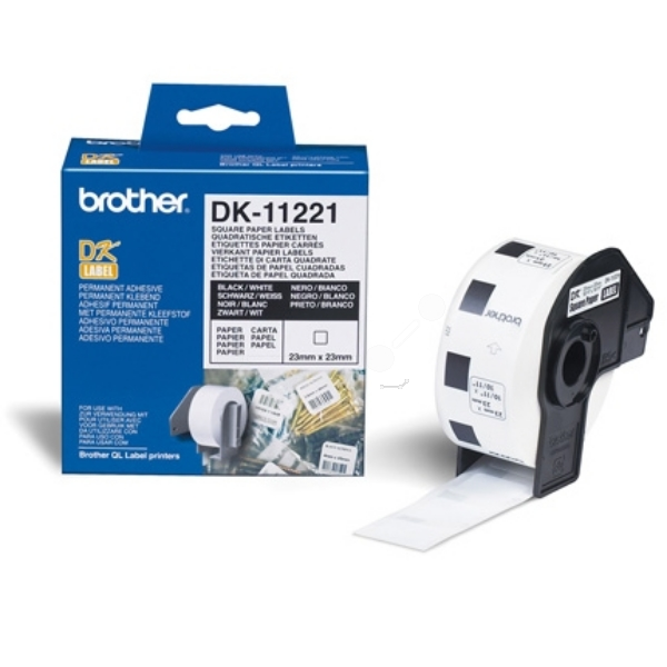 Brother DK-11221 P-Touch Etikettes, 23mm x 23mm, 1000