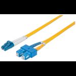 Intellinet Fibre Optic Patch Cable, Duplex, Single-Mode, LC/SC, 9/125 µm, OS2, 5m, LSZH, Yellow