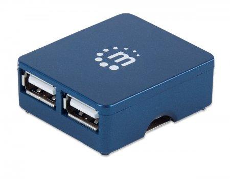 Manhattan USB 2.0 Micro Hub, 4x USB 2.0 ports, Bus Power, Blue, Blister