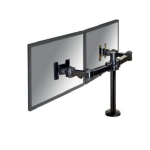 "Newstar Full Motion Dual Desk Mount (grommet) for two 10-27"" Monitor Screens, Height Adjustable - Black"