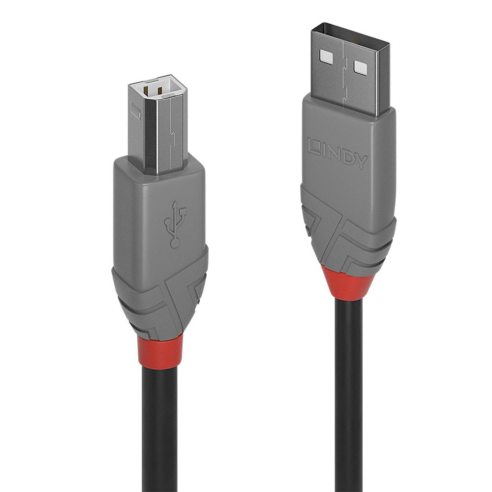 Lindy 36671 USB cable 0.5 m 2.0 USB A USB B Black,Grey
