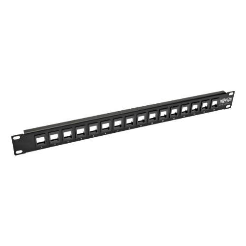 Tripp Lite 16-Port 1U Rack-Mount Unshielded Blank Keystone/Multimedia Patch Panel, RJ45 Ethernet, USB, HDMI, Cat5e/6