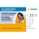 HERMA CD/DVD pockets made of paper white with adhesive dot 25 pcs.