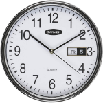 CARVEN CL285S WALL CLOCK 285MM WITH DATE SILVER RIM