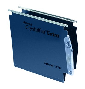 Rexel Crystalfile Extra `275` Lateral File 15mm Blue 25