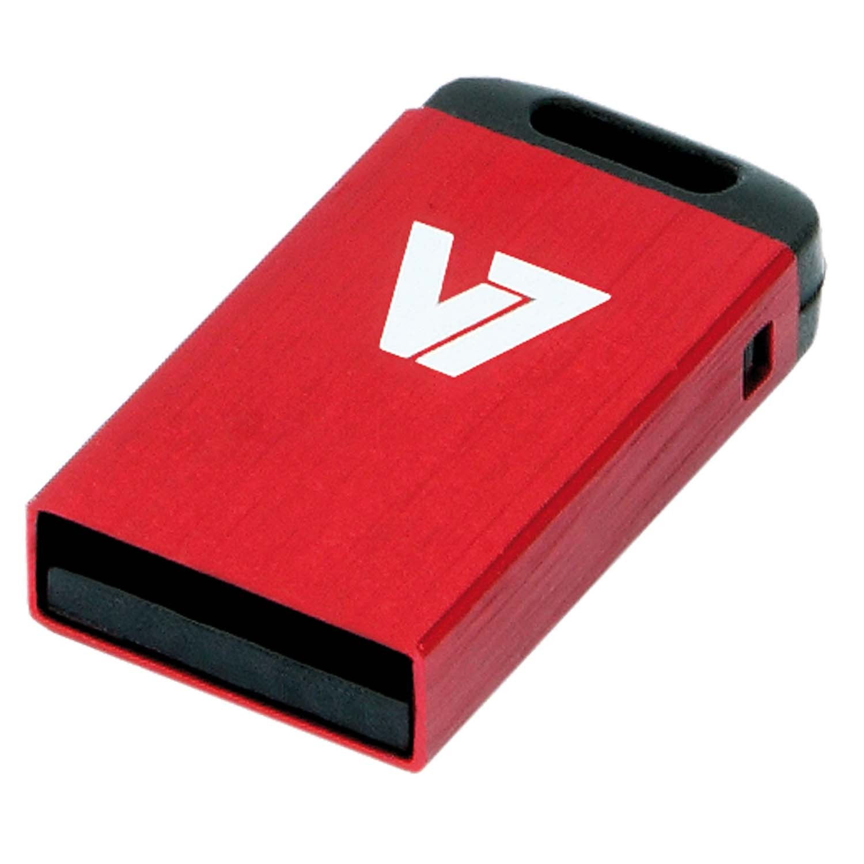V7 Nano USB 2.0 8GB USB flash drive USB Type-A Zwart, Rood