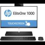 "HP EliteOne 1000 G1 60.5 cm (23.8"") 1920 x 1080 pixels Touchscreen 7th gen Intel® Core™ i5 8 GB DDR4-SDRAM 256 GB SSD Windows 10 Pro Wi-Fi 5 (802.11ac) All-in-One PC Black, Silver"