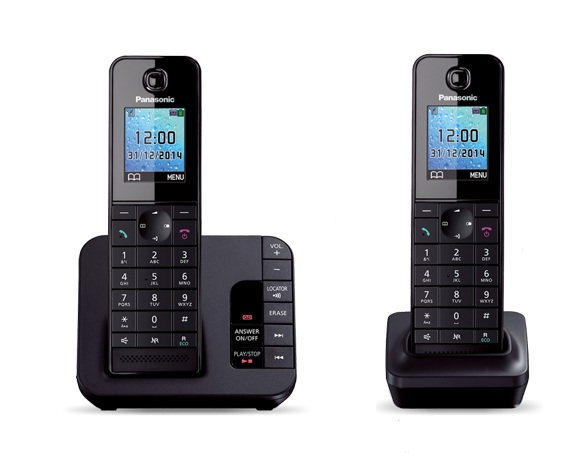 Cordless Dect Phone KX-TGH223EB with TAM and Call Blocking - Trio/ Black