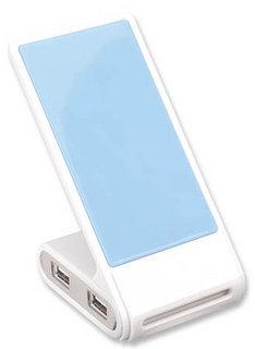 Manhattan Phone Stand with USB 2.0 Hub, 4x USB 2.0 Ports, Bus Power, Non Slip, White/Blue