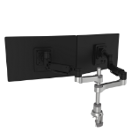 R-Go Tools R-Go Caparo 4 D2, Circular Dual Monitor Arm, Desk Mount, Gas Spring, 3-9kg, Black-Silver, Low Carbon Footprint
