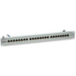 Intellinet Patch Panel, Cat6, FTP, 24-Port, 1U, Shielded, 90° Top-Entry Punch-Down Blocks, Grey