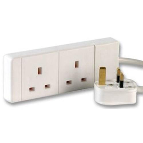 Videk 9018-2DS power extension 2 m 2 AC outlet(s) White