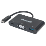 Manhattan USB-C Hub/Dock/Converter, USB-C to USB-C (including Power Delivery), VGA and USB-A, 5Gbps (USB 3.2 Gen 1); Video up to 1920x1200, 1080p@60Hz, Full HD; Cable 8cm, Black, Blister