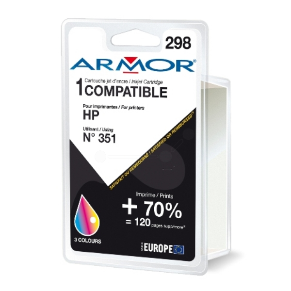 Armor K20272 (331) compatible Printhead black, 805 pages @ 5% coverage, 21ml, Pack qty 6 (replaces HP 300XL)
