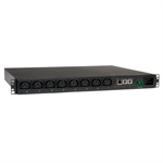 Tripp Lite 3.2-3.8kW Single-Phase Switched PDU, 200-240V Outlets (8 C13), C20 / L6-20P input, 8.5ft Cord, 1U Rack-Mount