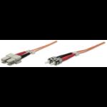 Intellinet Fibre Optic Patch Cable, Duplex, Multimode, ST/SC, 50/125 µm, OM2, 2m, LSZH, Orange, Fiber, Lifetime Warranty