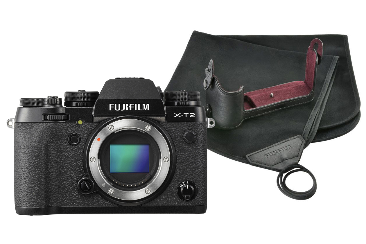 Fujifilm X-T2 Black Camera Body inc BLC-XT2 Leather Bottom Half Case & Cloth