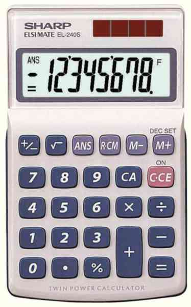 Sharp 8 DIGIT HAND HELD CALC SH-EL240SAB