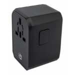 Manhattan Wall/Power Travel Adapter, Wall Charger plus 1x USB-C and 3x USB-A Ports, For use with plugs from Europe, UK, USA and Australia (in over 210 countries), Power Delivery to USB-C Port (45W), Overload/Overcurrent/Overheat Protection, 3 Year Warrant