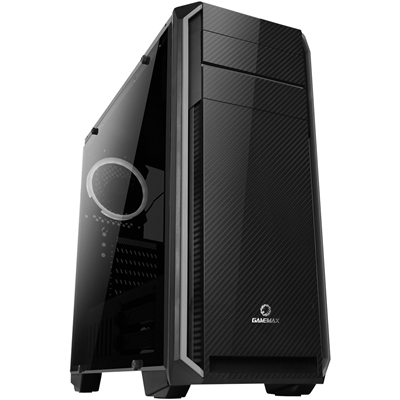 GAMEMAX Carbon Mid Tower 1 x USB 3.0 / 2 x USB 2.0 Side Window Panel Black Case with White LED Fan