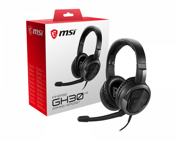 MSI IMMERSE GH30 V2 Gaming Headset 'Black with Iconic Dragon Logo, Wired Inline Audio with splitter accessory, 40mm Drivers, detachable Mic, easy foldable design'