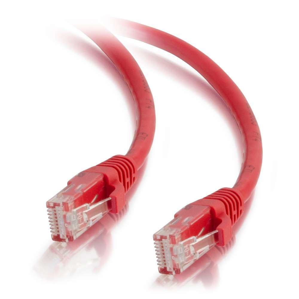 C2G Cable de conexión de red de 0,5 m Cat5e sin blindaje y con funda (UTP), color rojo