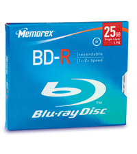 Blu-ray Media 25GB 2x Recordable 1-pk With Jewel Case