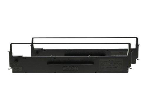 Epson SIDM Black Ribbon Cartridge for LQ-350/300+/300+II, Dualpack (C13S015646) printer ribbon