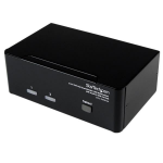 StarTech.com Conmutador Switch KVM de 2 Puertos Doble Monitor DVI VGA Audio 4 Puertos USB 1920x1200