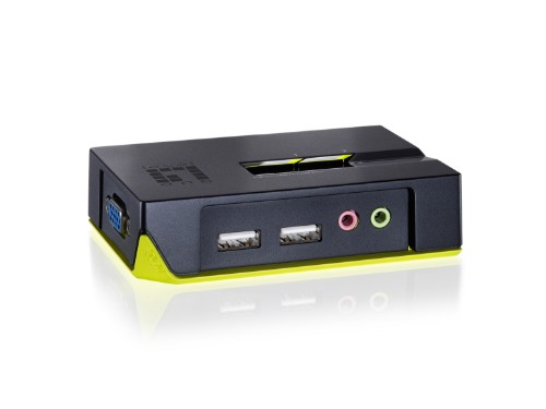LevelOne 2-Port USB VGA KVM Switch, audio support