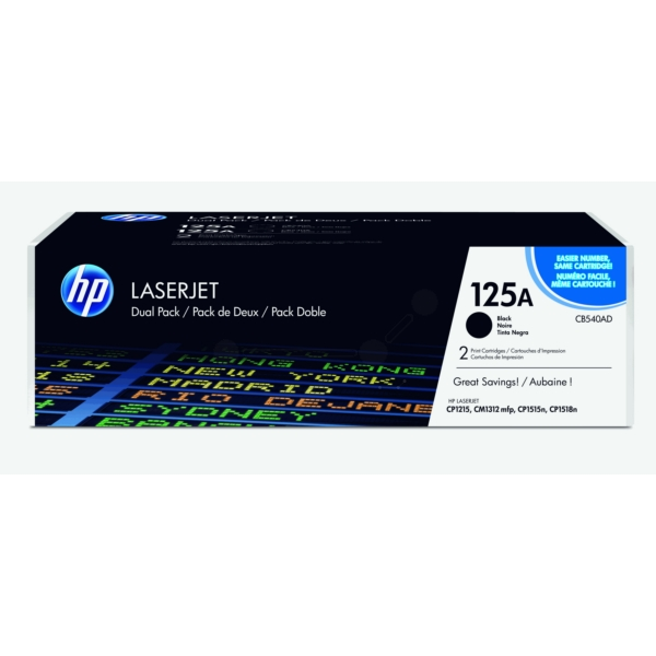 HP CB540AD (125A) Toner black, 2.2K pages, Pack qty 2