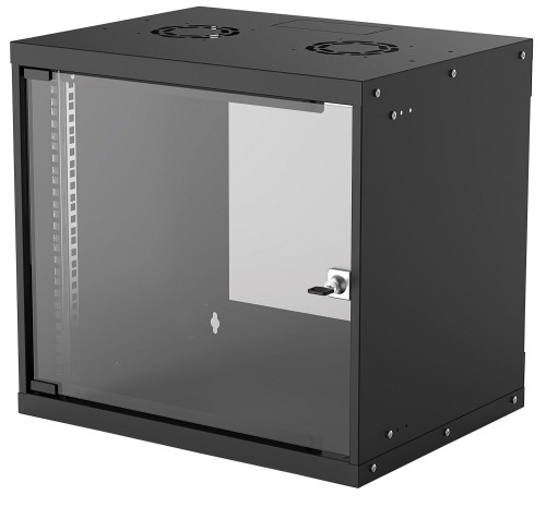 "Intellinet 19"" Basic Wallmount Cabinet, 9U, 400mm Deep, IP20-Rated Housing, Max 50kg, Flatpack, Black"