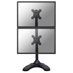 """Newstar Tilt/Turn/Rotate Dual Desk Mount (stand & grommet) for two 10-27"""" Monitor Screens ONE ABOVE OTHER, Height Adjustable - Black"""